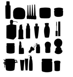 Wide range cosmetic jars vector