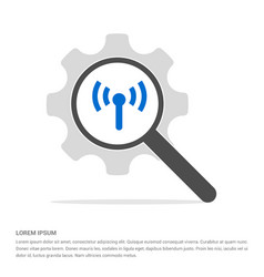 wifi icon search glass with gear symbol icon vector image