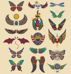 Wings set angel devil dragon bat vector