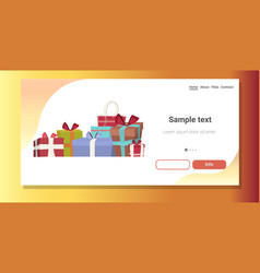 wrapped gift present boxes stack merry christmas vector image