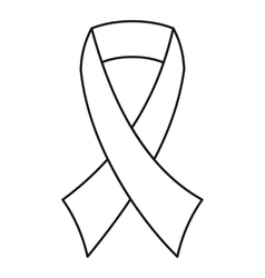 Breast cancer awareness ribbon icon outline style vector
