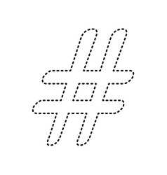 hashtag sign black dashed vector image vector image