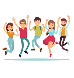 jumping young happy people in casual clothes flat vector image vector image