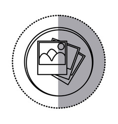 monochrome contour with circle sticker of pictures vector image