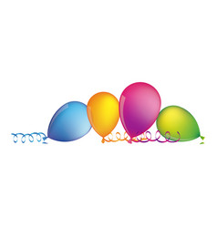 multicolored balloons with serpentine on the floor vector image vector image
