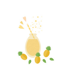 pineapple cocktail juice in glass jar on a table vector image