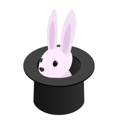 Rabbit appearing from a top magic hat vector image