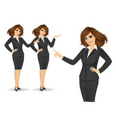 business women showing something vector image vector image