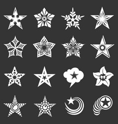 decorative stars icons set grey vector image