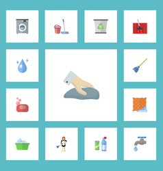 Flat icons mopping faucet foam and other vector
