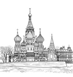 st basil cathedral city view moscow russia travel vector image vector image