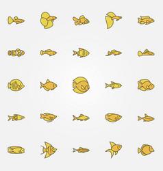 Aquarium fish colorful icons vector