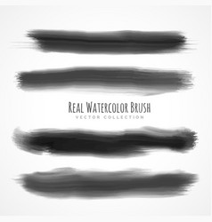 black real watercolor brushes set vector image