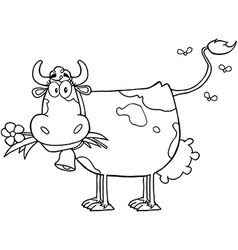 Cow with flowers and bell vector image vector image