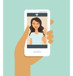 hand holding smartphone during a video call vector image vector image