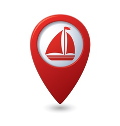 Map pointer with sailboat icon vector image vector image