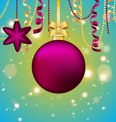 New Year greeting card Christmas Ball with bow and vector image vector image