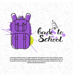 back to school doodle backpack label hand drawn on vector image