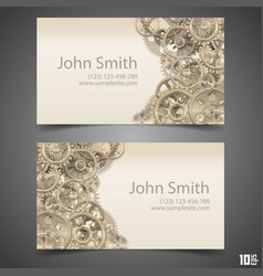 gears business card vector image vector image