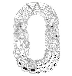 number zero or letter zentangle decorative vector image
