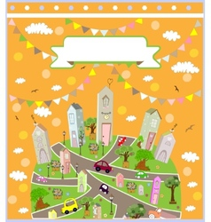 pattern with cute houses background vector image