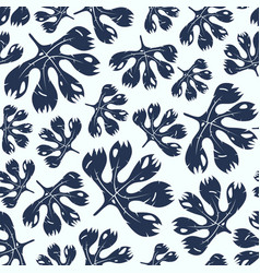 seamless pattern with tropical plant leaves vector image