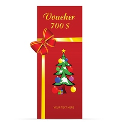 voucher with christmas tree in colorful vector image vector image