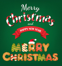 xmas gingerbread cookie text vector image