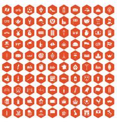 100 europe countries icons hexagon orange vector image