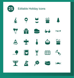 25 holiday icons vector image