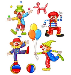 A simple coloured drawing of the four clowns vector image