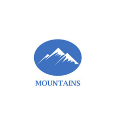 abstract blue mountains with a snow cap icon vector image