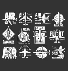 air travel pilot flight school and aviation icons vector image