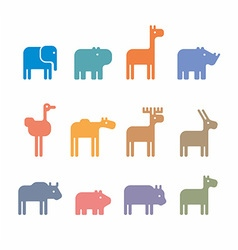 Animals set silhouette vector image