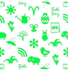 april month theme set of green icons seamless vector image