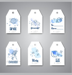 astronomy hand drawn on gift tags vector image