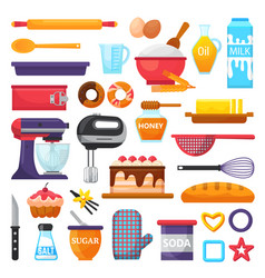 Baking kitchenware and food bakery vector