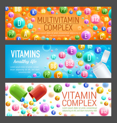 Banners of vitamins and multivitamins vector