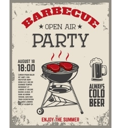 Barbecue open air party flyer Vintage grill on vector