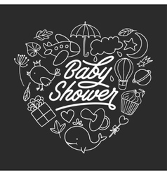 Bashower invitation chalkboard template hand vector