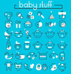 bastuff linear icons collection vector image