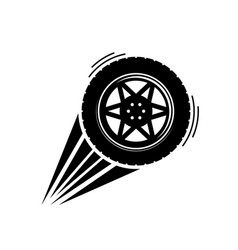 black moving wheel vector image