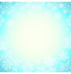 Blue snowy blurred background with bokeh effect vector image