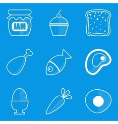 Blueprint icon set Food vector image