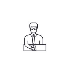 businessman manager line icon sign vector image