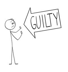 Cartoon big arrow saying guilty pointing at vector