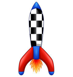cartoon space rocket isolated white background vector image