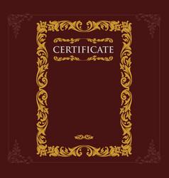 certificate engraving vintage baroque vector image