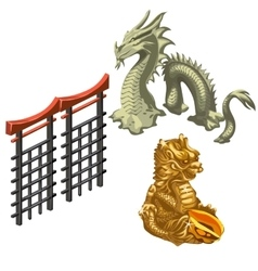 Chinese dragon snake and fragment wall vector