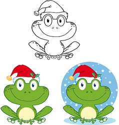 Chrismtas frog cartoon vector